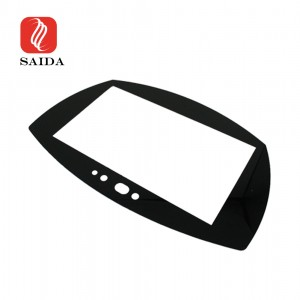 Custom Anti-Glare 1.8mm Irregular Front Protective Glass Panel with Black Silkscreen Printing for Car Dashboard