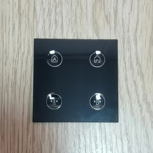 Factory Supply 3mm Crystal Glass Switch Panel with Concave Push Button for Wall Light Switch