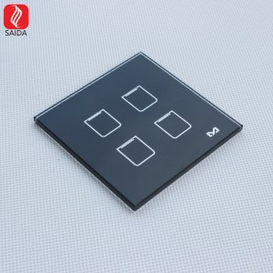 High Quality Customzied 86x86mm Front Tempered Glass for Smart Hotel Light Switch