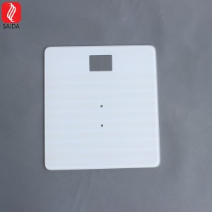 Hot Sale IK09 Square 260x260x6mm 50ohm White Design Tempered Glass with ITO Pattern for Bathroom Scale