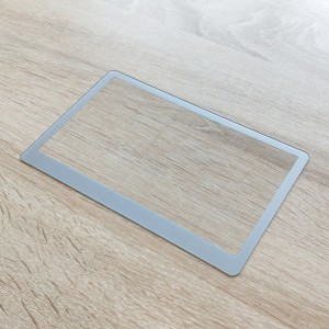 Customized Anti Glare Lcd Display Touch Panel Protection Cover Tempered Glass with Silver Printed Frame for Display Screen