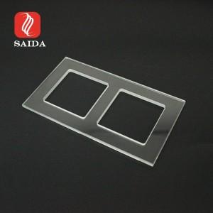 EU Standard 2mm 4mm 2 Gang 2 Way Ultra Clear Electrical Light Wall Socket Toughened Glass Panel