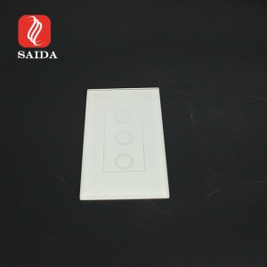 Factory Supply Two Gang Two Way Ultra Clear Switch Glass Panel with Silkscreen Printed Apple White
