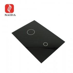Custom 3mm High Gloss Black Ceramic Frit Tempered Glass Panel for Smart Touch Sanitary