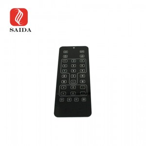 New Design 0.7mm Black with Silver Silkscreen Printed Toughened Glass Panel for Telecontroller