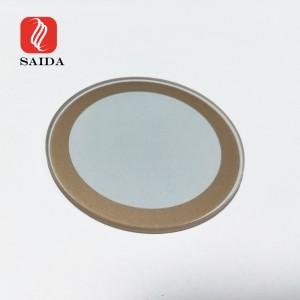 Custom Dia. 40×1.8mm ITO Conductive Glass 15ohm/sq with Copper Epoxy for Heating Purpose